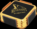 Black Leatherette Square Coaster Set with Gold Edges Boss Gift Awards