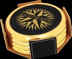 Black Leatherette Round Coaster Set with Gold Edge Employee Awards