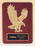 Rosewood Piano Finish Plaque with Gold Eagle Casting Patriotic Trophies & Awards
