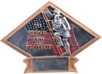 Firefighter Diamond Plate Resin Patriotic Trophies & Awards