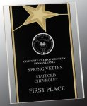 Black/Gold Standing Star Acrylic Recognition Plaque Patriotic Trophies & Awards